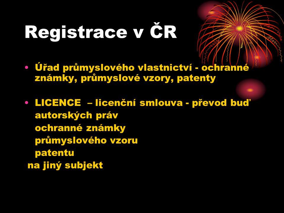 Registrace v ČR Úřad průmyslového vlastnictví - ochranné známky, průmyslové vzory, patenty. LICENCE – licenční smlouva - převod buď.