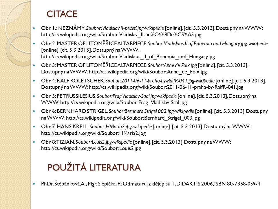 CITACE POUŽITÁ LITERATURA