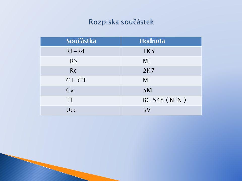 Rozpiska součástek Součástka Hodnota R1-R4 1K5 R5 M1 Rc 2K7 C1-C3 Cv