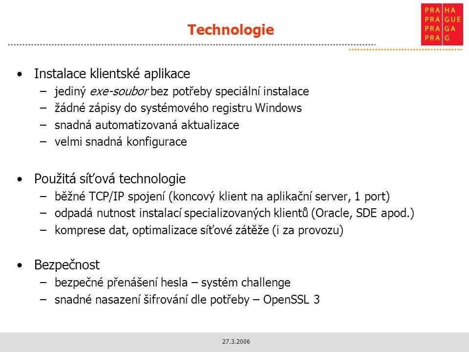 Technologie Instalace klientské aplikace Použitá síťová technologie