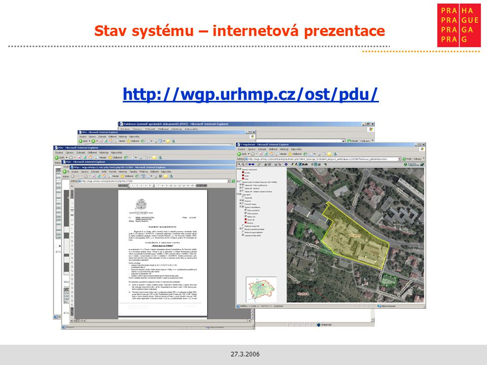 Stav systému – internetová prezentace