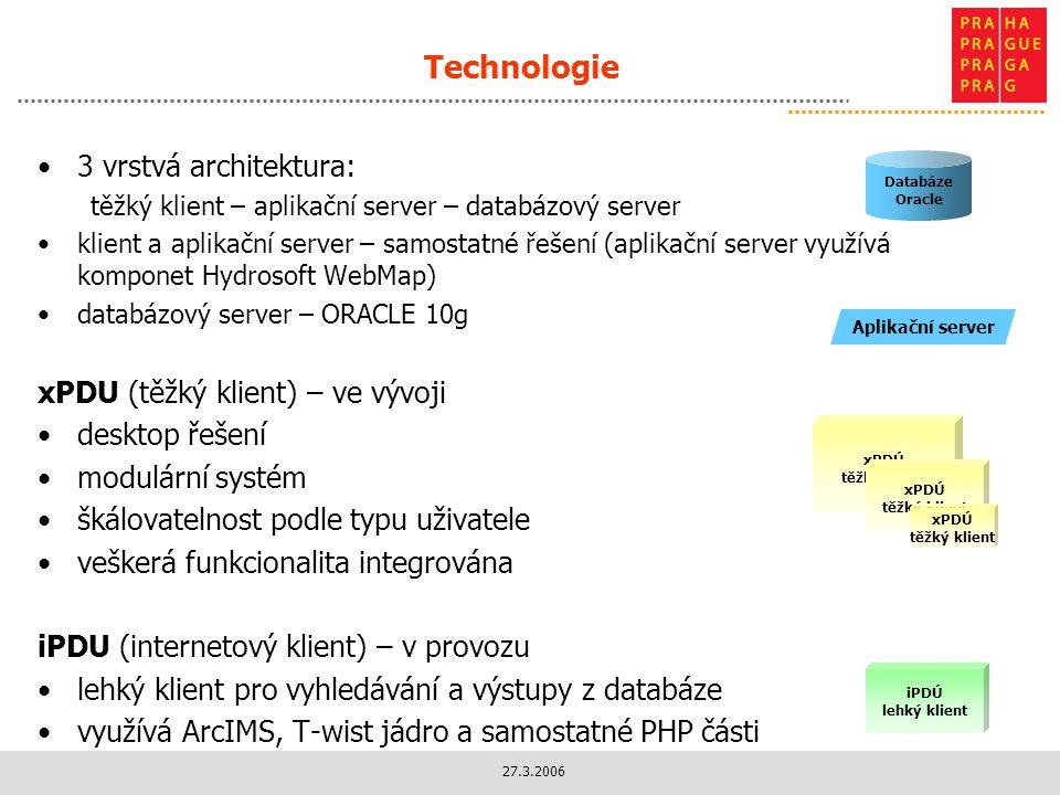 Technologie 3 vrstvá architektura: xPDU (těžký klient) – ve vývoji