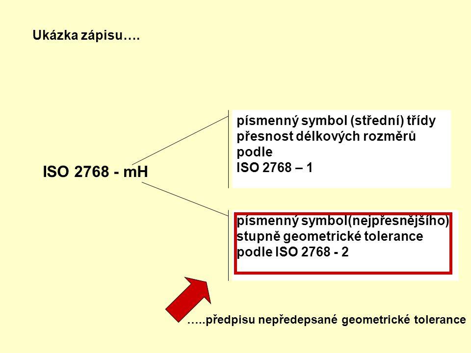 písmenný symbol (střední) třídy přesnost délkových rozměrů podle