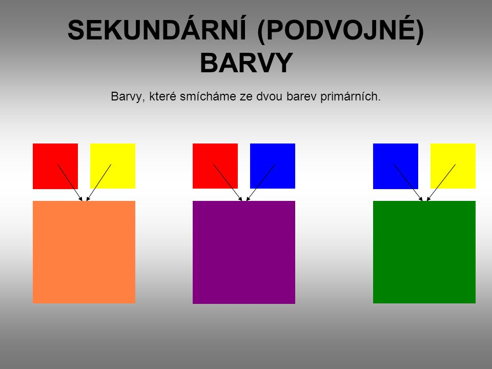 SEKUNDÁRNÍ (PODVOJNÉ) BARVY
