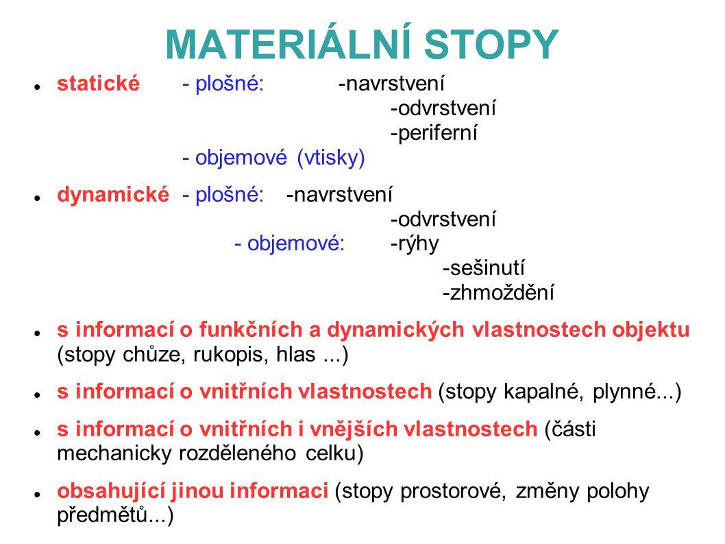 MATERIÁLNÍ STOPY statické - plošné: -navrstvení -odvrstvení -periferní - objemové (vtisky)