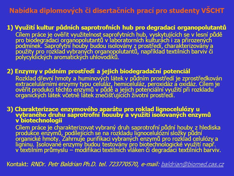 Nabídka diplomových či disertačních prací pro studenty VŠCHT