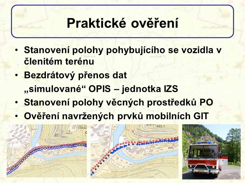 Praktické ověření Stanovení polohy pohybujícího se vozidla v členitém terénu. Bezdrátový přenos dat.