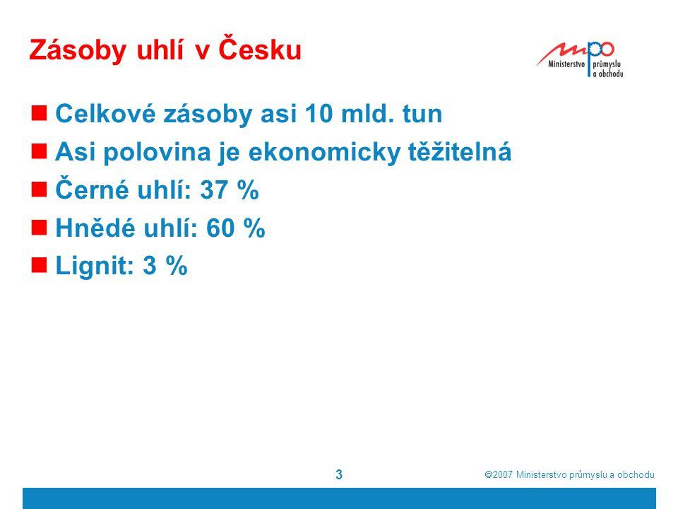 Zásoby uhlí v Česku Celkové zásoby asi 10 mld. tun
