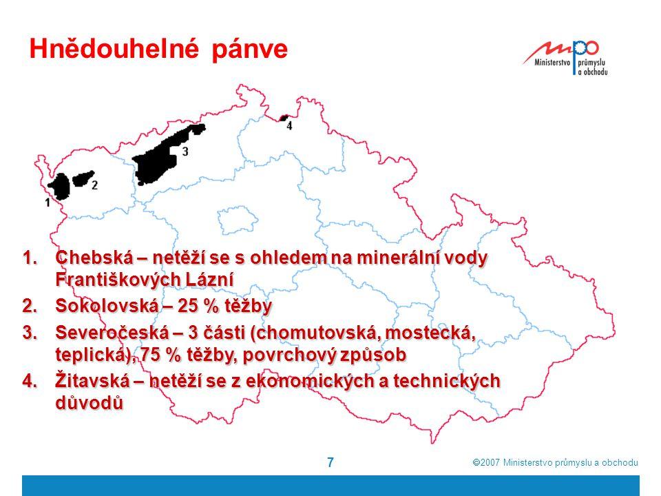 Hnědouhelné pánve Chebská – netěží se s ohledem na minerální vody Františkových Lázní. Sokolovská – 25 % těžby.