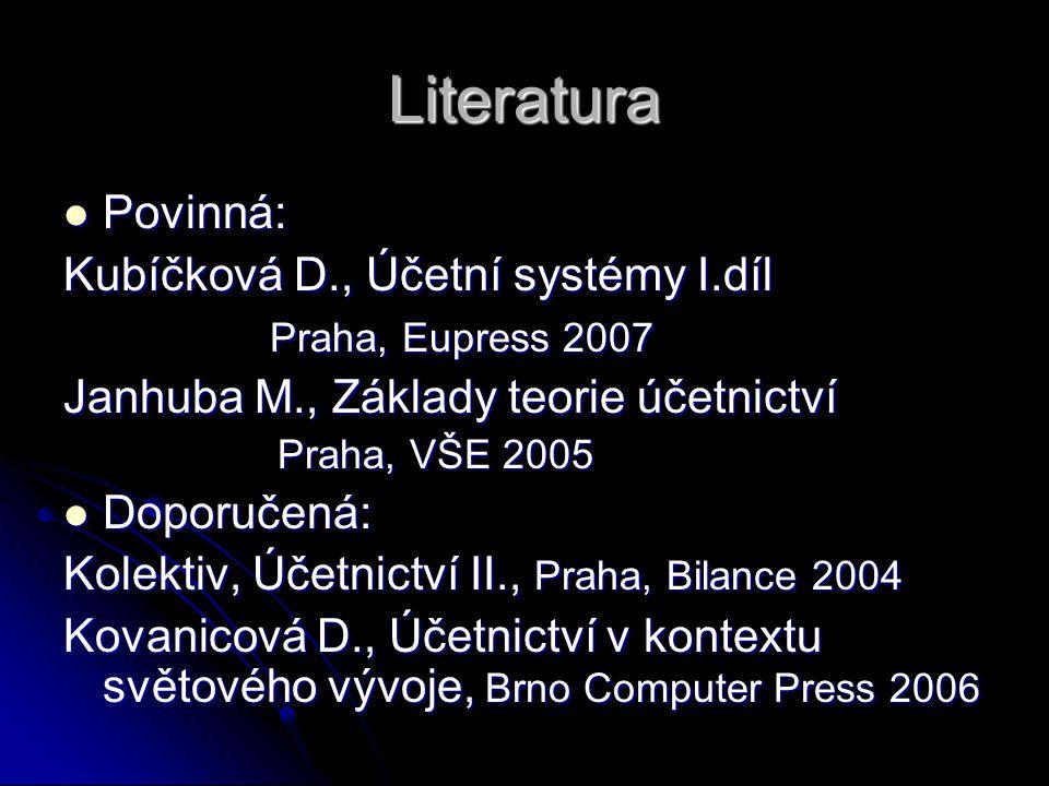 Literatura Povinná: Kubíčková D., Účetní systémy I.díl
