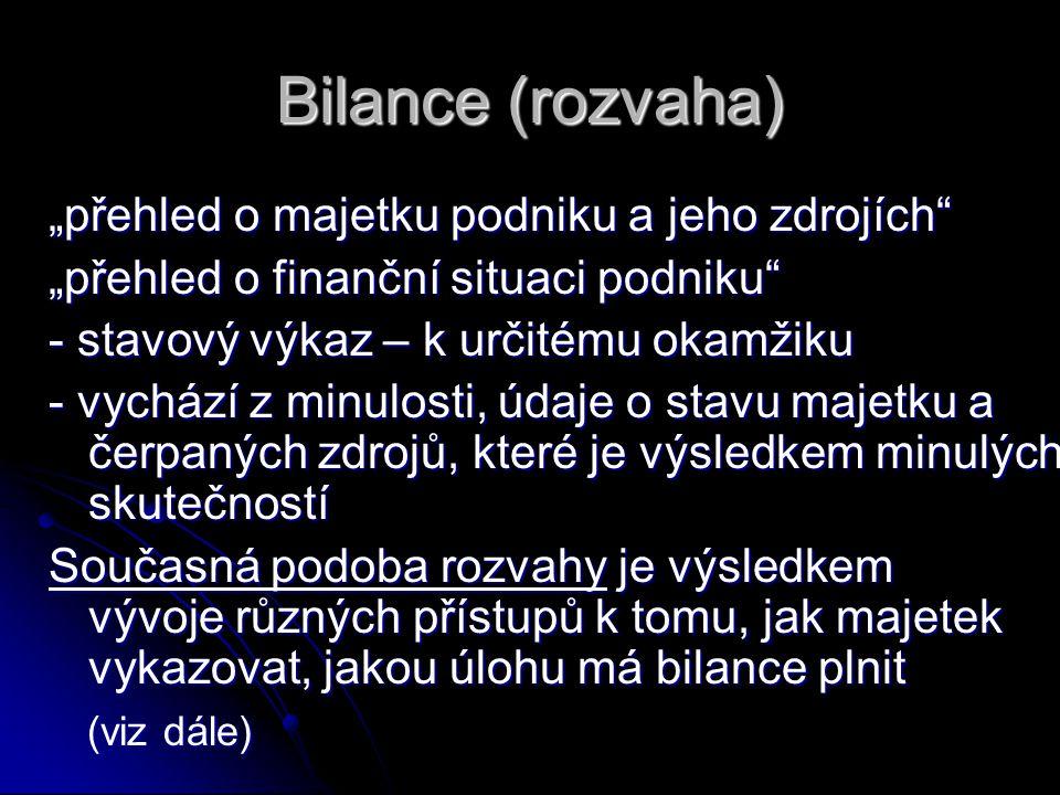 """Bilance (rozvaha) """"přehled o majetku podniku a jeho zdrojích"""