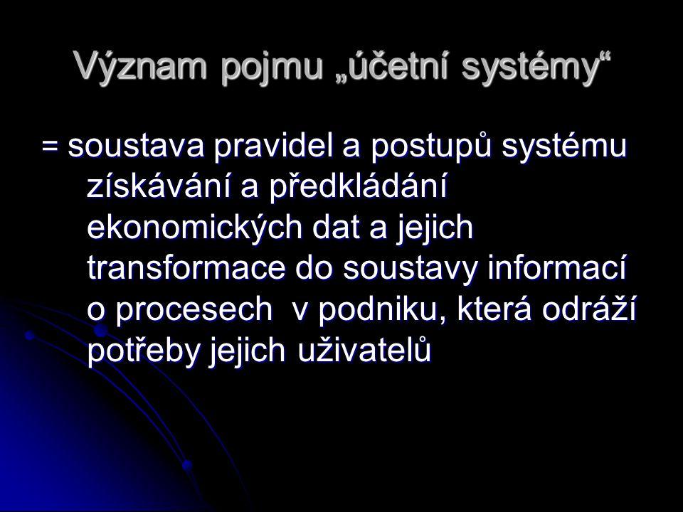 """Význam pojmu """"účetní systémy"""