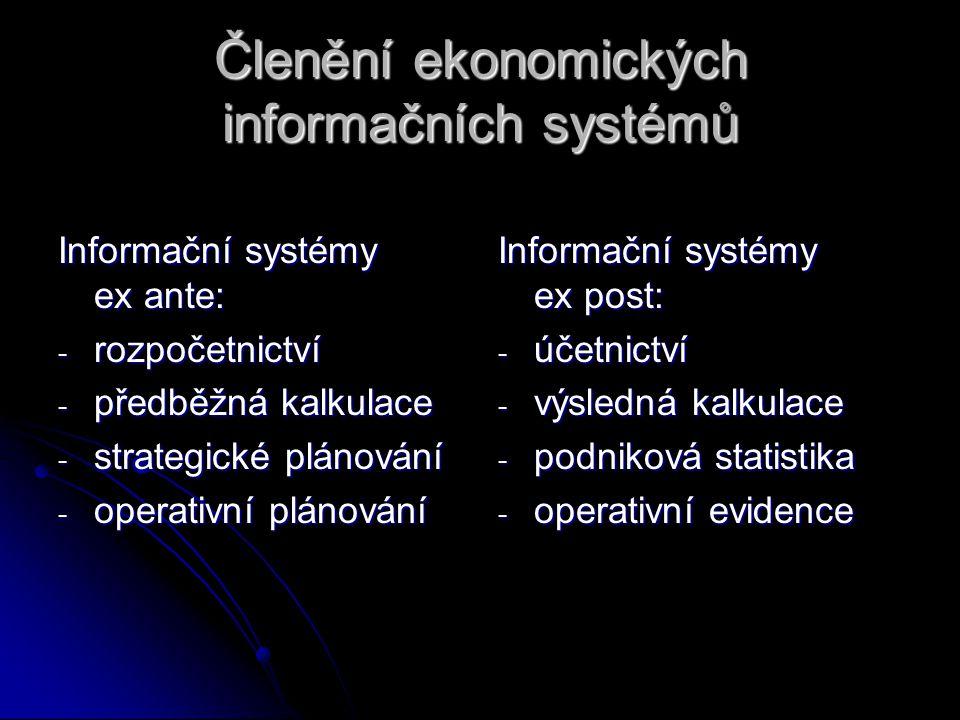 Členění ekonomických informačních systémů