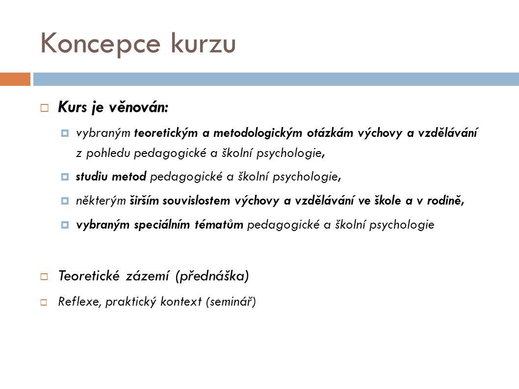 Koncepce kurzu Kurs je věnován: Teoretické zázemí (přednáška)