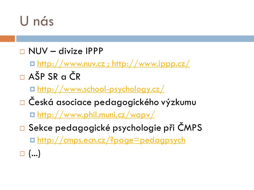U nás NUV – divize IPPP AŠP SR a ČR