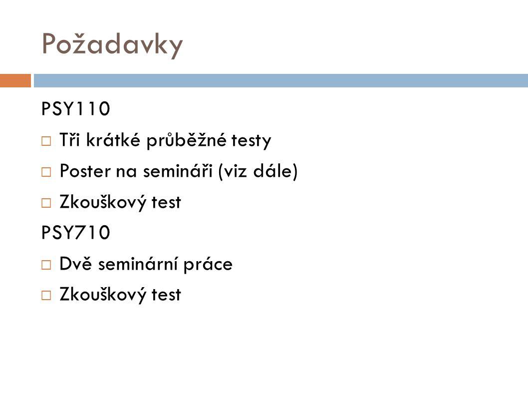Požadavky PSY110 Tři krátké průběžné testy