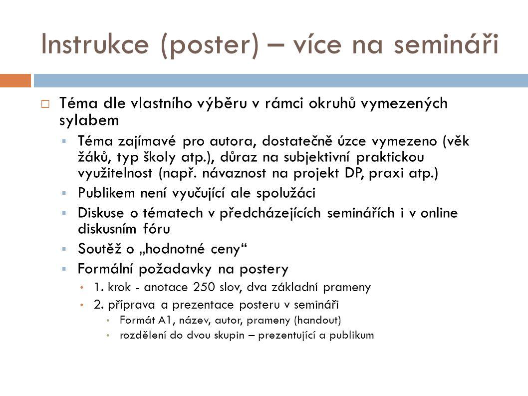 Instrukce (poster) – více na semináři