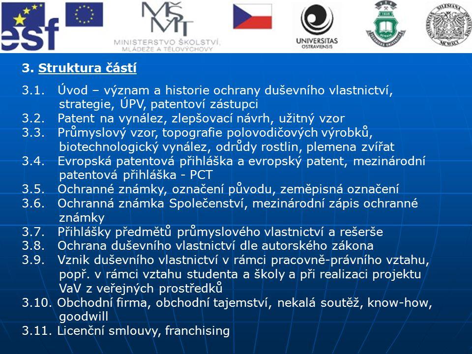 3. Struktura částí 3.1. Úvod – význam a historie ochrany duševního vlastnictví, strategie, ÚPV, patentoví zástupci.