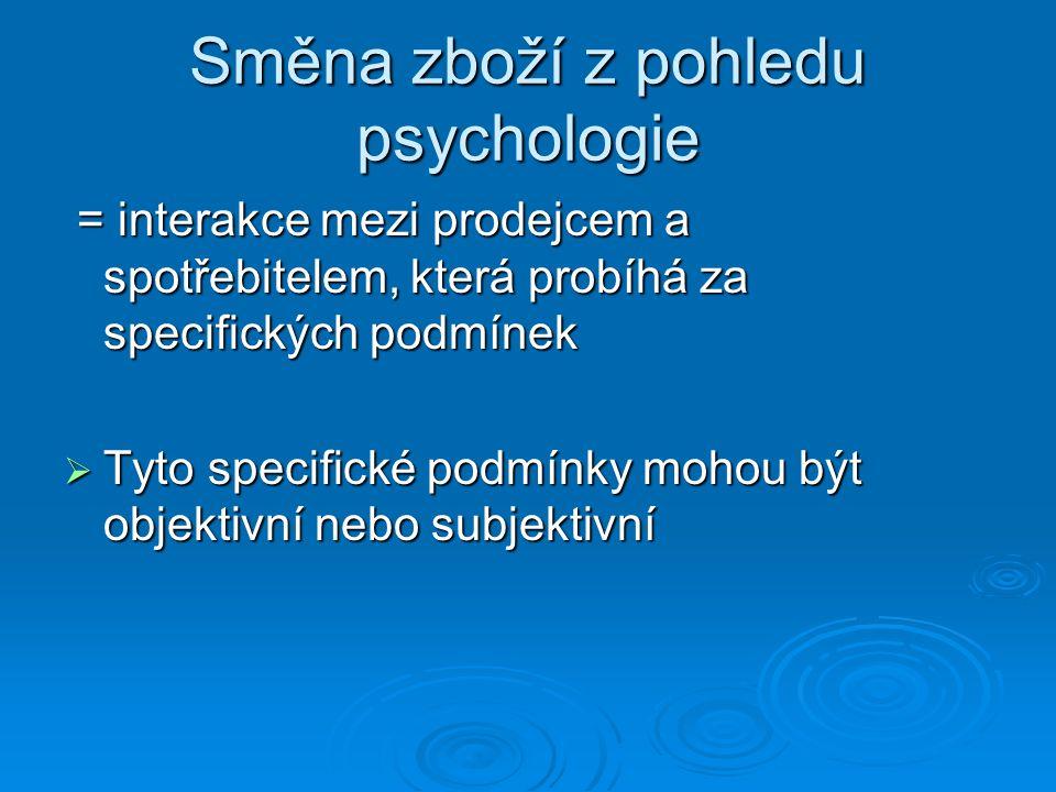 Směna zboží z pohledu psychologie