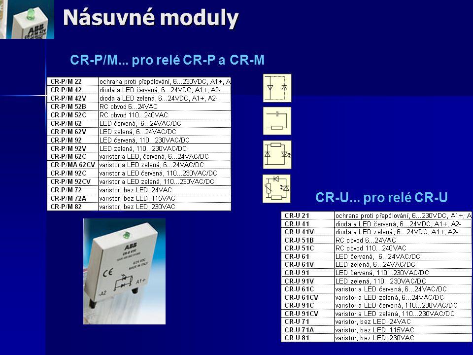 Násuvné moduly CR-P/M... pro relé CR-P a CR-M CR-U... pro relé CR-U
