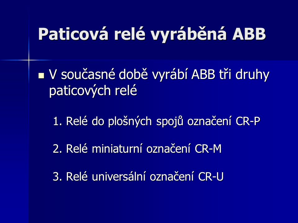 Paticová relé vyráběná ABB