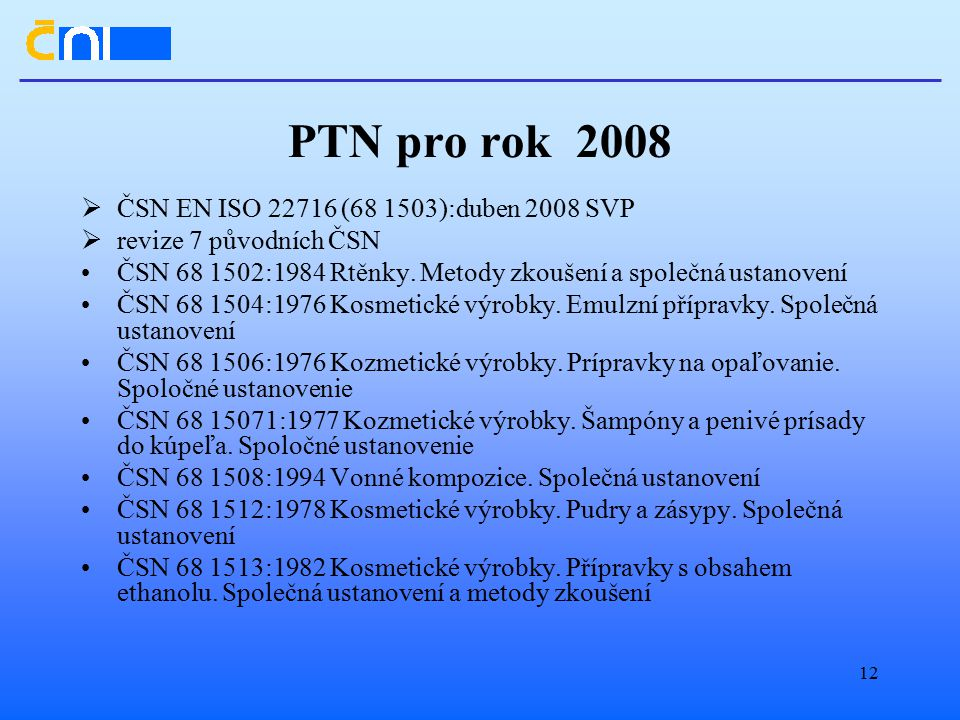 PTN pro rok 2008 ČSN EN ISO 22716 (68 1503):duben 2008 SVP