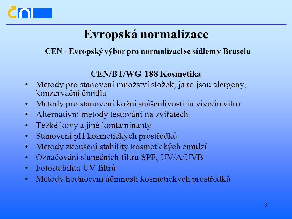 Evropská normalizace CEN - Evropský výbor pro normalizaci se sídlem v Bruselu