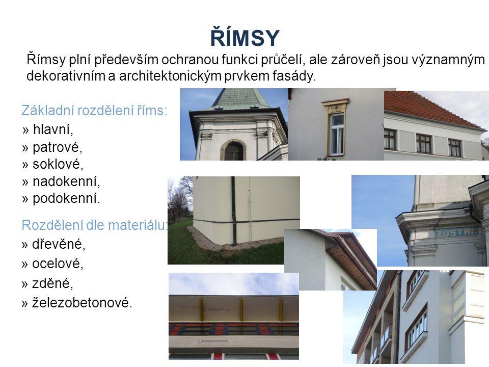 Zdroje ŘÍMSY. Římsy plní především ochranou funkci průčelí, ale zároveň jsou významným dekorativním a architektonickým prvkem fasády.