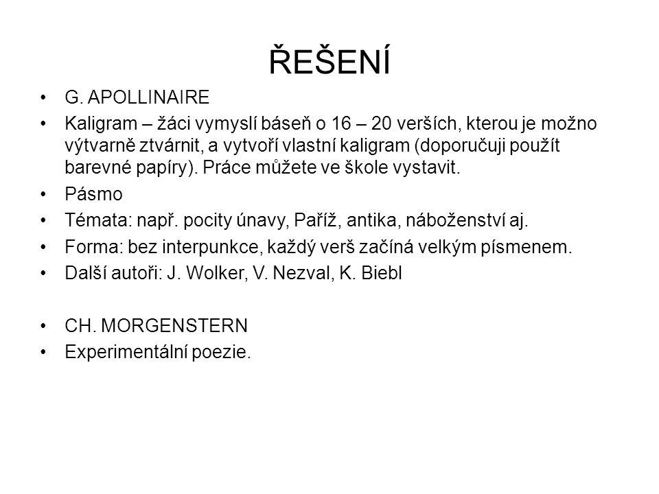 ŘEŠENÍ G. APOLLINAIRE.