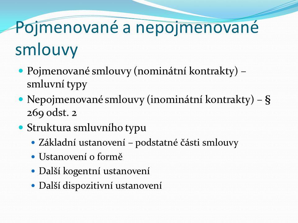 Pojmenované a nepojmenované smlouvy