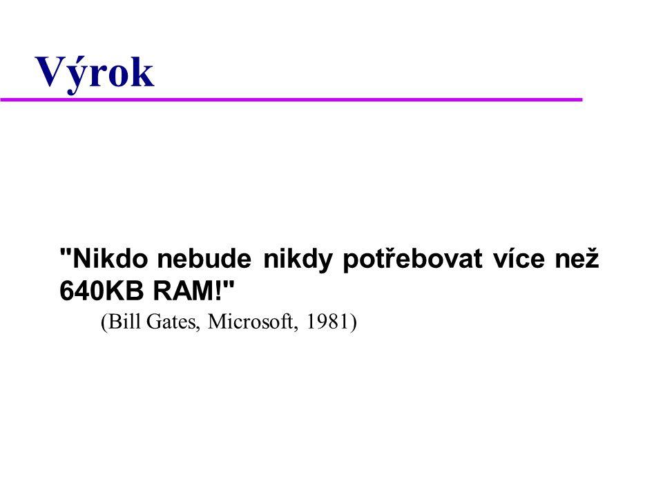 Výrok Nikdo nebude nikdy potřebovat více než 640KB RAM! (Bill Gates, Microsoft, 1981) 2