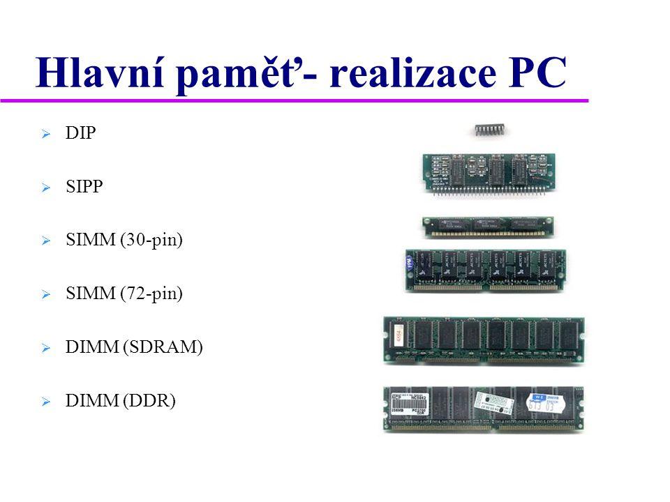 Hlavní paměť- realizace PC