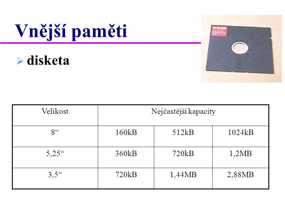 Vnější paměti disketa Velikost Nejčastější kapacity 8 160kB 512kB