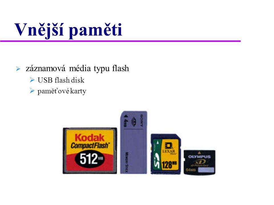 Vnější paměti záznamová média typu flash USB flash disk paměťové karty