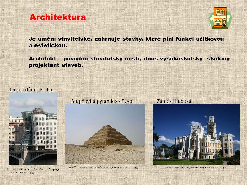 Architektura Je umění stavitelské, zahrnuje stavby, které plní funkci užitkovou. a estetickou.