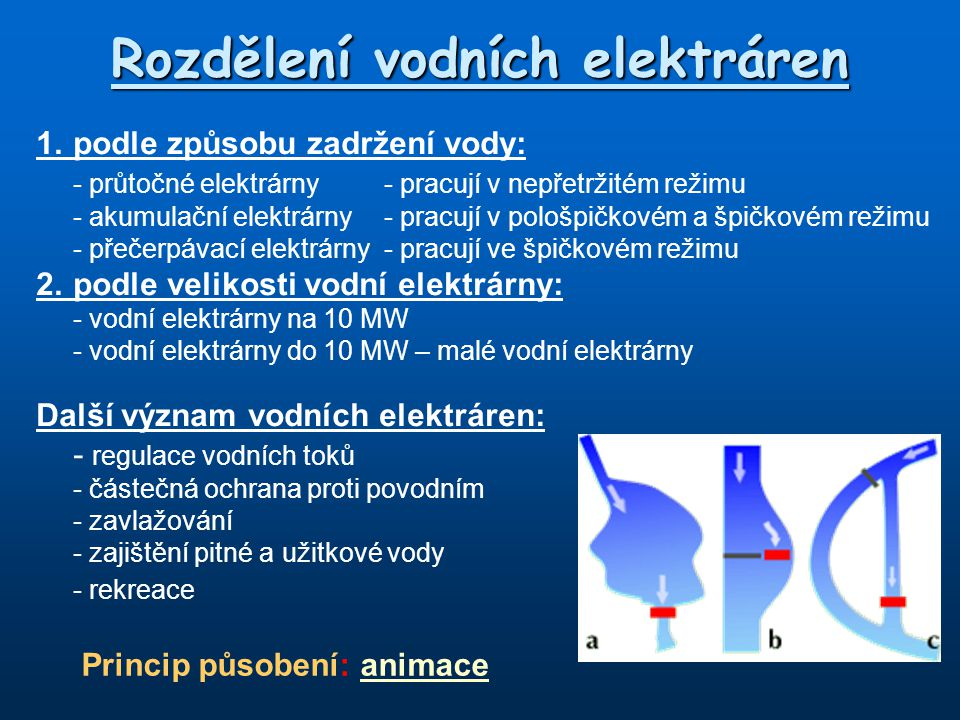 Rozdělení vodních elektráren