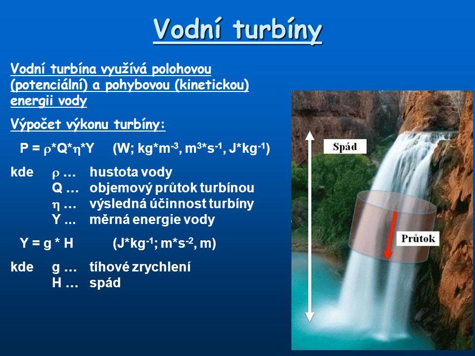 Vodní turbíny Vodní turbína využívá polohovou (potenciální) a pohybovou (kinetickou) energii vody. Výpočet výkonu turbíny:
