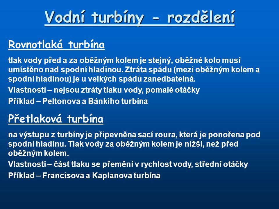 Vodní turbíny - rozdělení