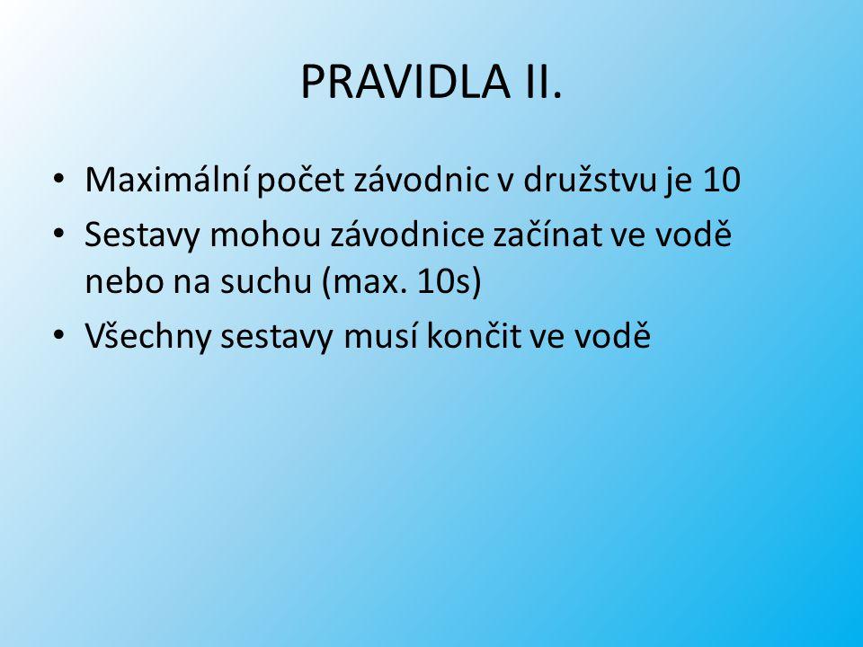 PRAVIDLA II. Maximální počet závodnic v družstvu je 10