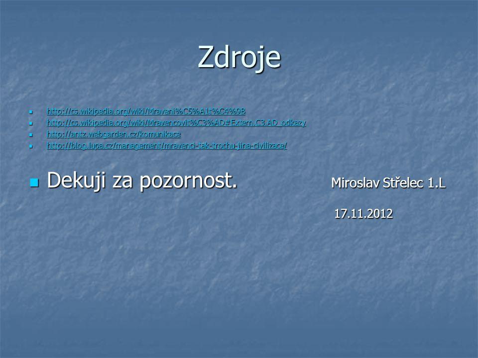 Zdroje Dekuji za pozornost. Miroslav Střelec 1.L 17.11.2012