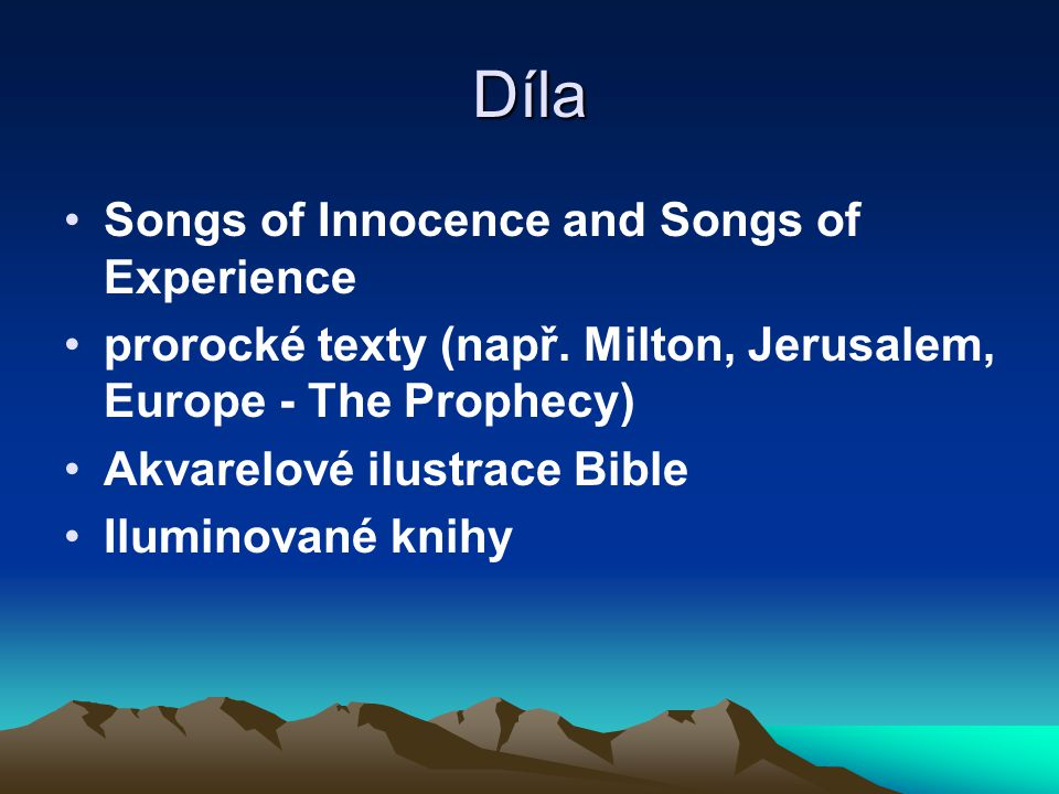 Díla Songs of Innocence and Songs of Experience