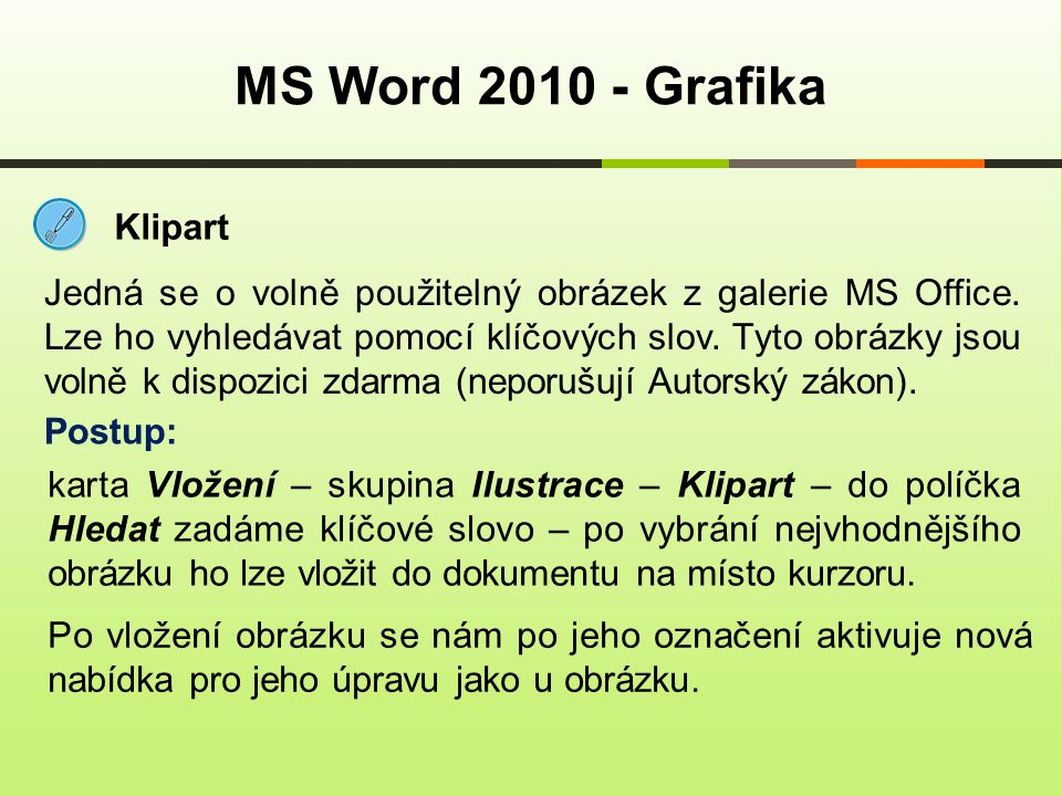 MS Word 2010 - Grafika Klipart