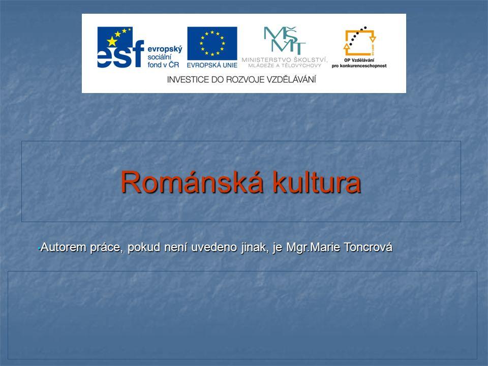 Románská kultura Autorem práce, pokud není uvedeno jinak, je Mgr.Marie Toncrová 1