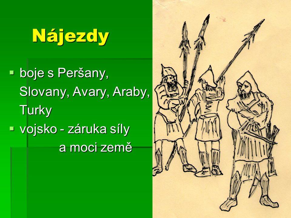 Nájezdy boje s Peršany, Slovany, Avary, Araby, Turky
