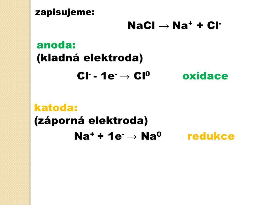 NaCl → Na+ + Cl- anoda: (kladná elektroda) Cl- - 1e- → Cl0 oxidace