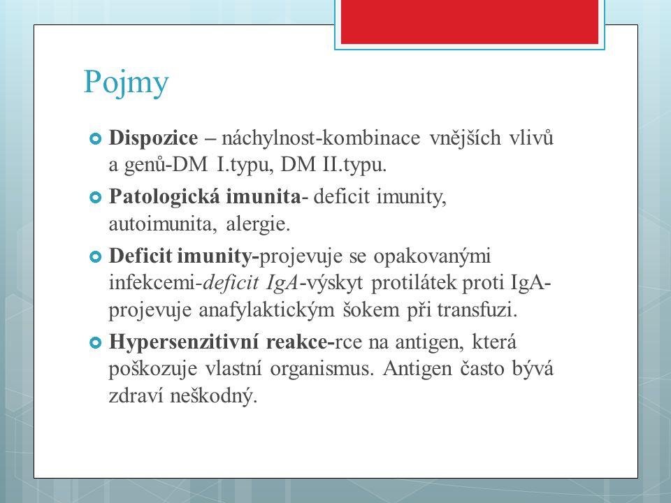 Pojmy Dispozice – náchylnost-kombinace vnějších vlivů a genů-DM I.typu, DM II.typu. Patologická imunita- deficit imunity, autoimunita, alergie.