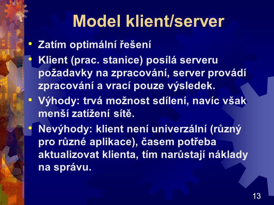 Model klient/server Zatím optimální řešení