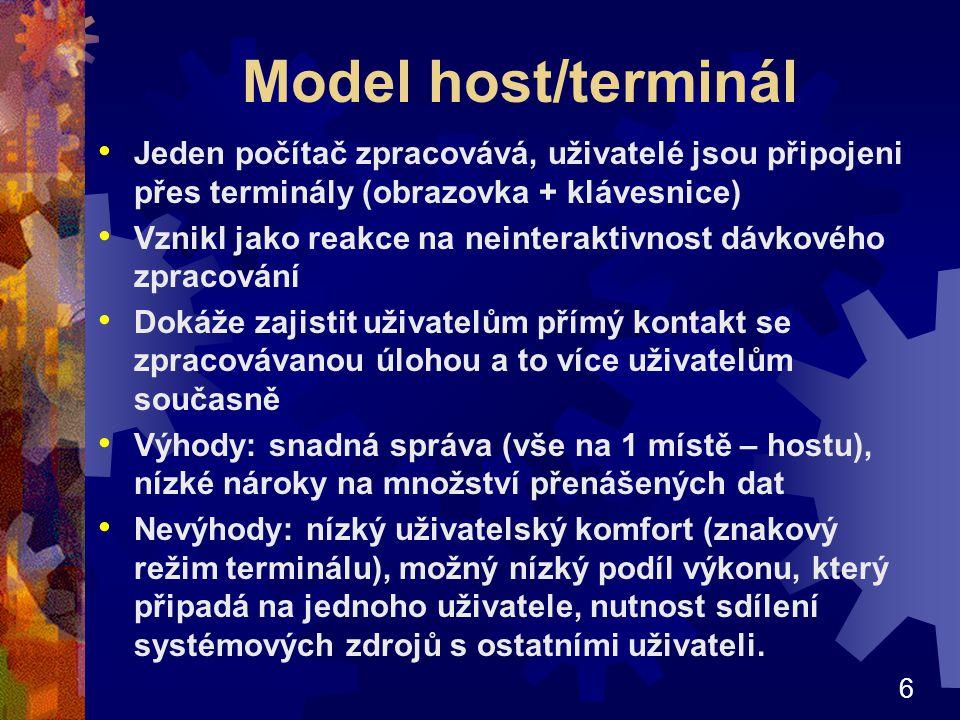 Model host/terminál Jeden počítač zpracovává, uživatelé jsou připojeni přes terminály (obrazovka + klávesnice)