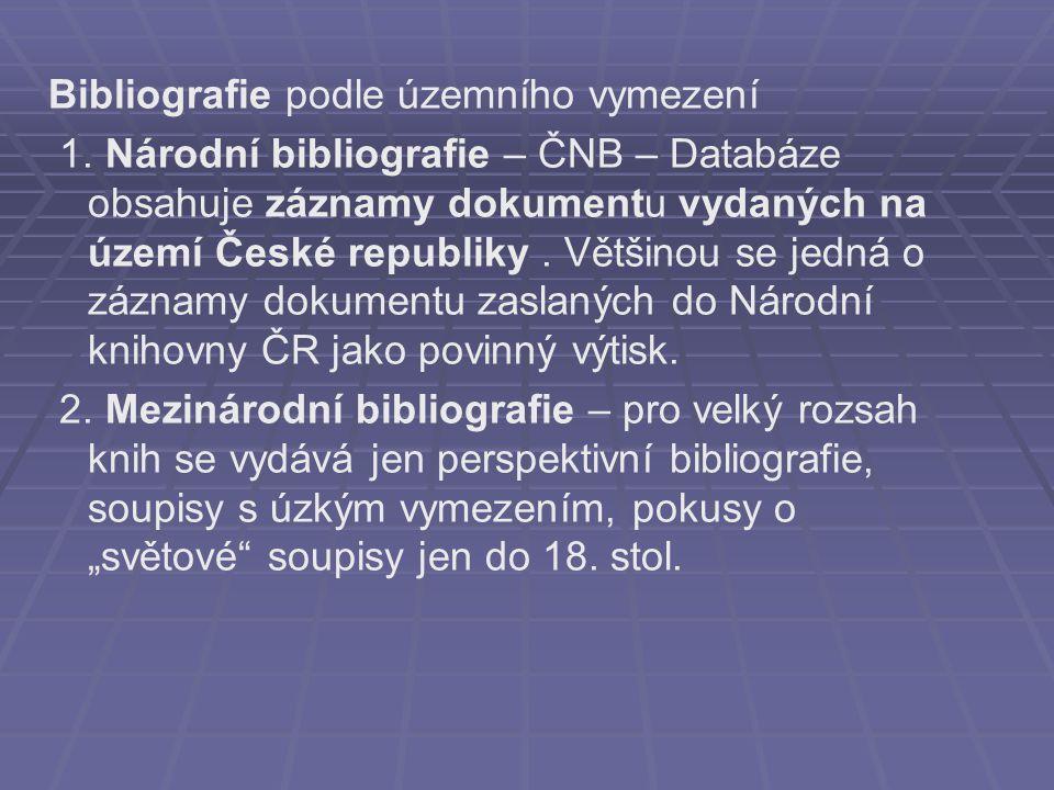 Bibliografie podle územního vymezení