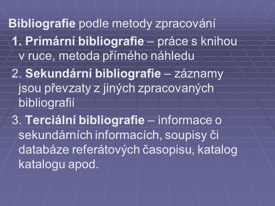 Bibliografie podle metody zpracování